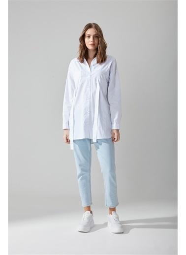 Mizalle Poplin Beyaz Gömlek Beyaz